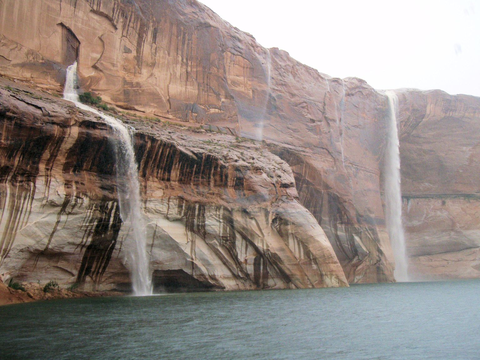Waterfalls on Lake Powell after a desert rain